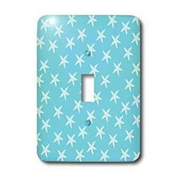 3dRose LLC lsp_110486_1 Little Starfish Beach Theme Art In Aqua and White Single Toggle Switch