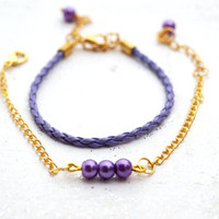 Dainty Beaded Gold and Purple Pearl Bracelet ,Set of 2