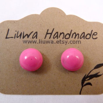 Post Earrings Hot Pink Clay Dot Earrings Surgical by Liuwa on Etsy