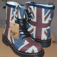 NIB Dr Doc Martens Women's Drench Union Jack Rubber Wellies Boots, 5US/3UK