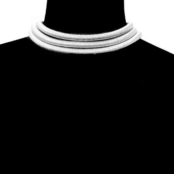 Silver EGYPTIAN 3X CORD LAYERED CHOKER Statement Metal Necklace Celebrity Insp'd