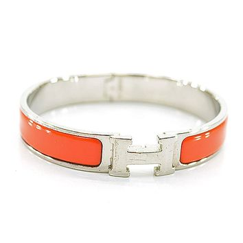 Auth HERMES Clic Clac H Bangle Bracelet Silvertone/Enamel Dark Orange - r6090