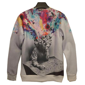 Autumn Fashion 3d sweatshirts men&'s hoodies thin 3d men Space/galaxy cartoon sweatshirts Plus Size