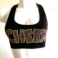 Cheer Rhinestone Athletic Double Layer Racerback Bra Top in Pink, Green & Black - Junior/Teen Fit