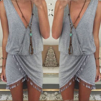 Women Summer Boho Holiday Tassel Party Evening Mini Dress Beach Dress Sundress