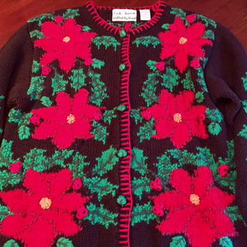Knitted By Hand Ugly Christmas Sweater Button Down Cardigan, Woman's Size Medium, Amazing Knit Details, 1990's Knit.
