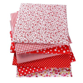 New Year Christmas Red 50X50cm 100% Cotton Flowers Striped Plaid Dots Fabric For Doll Patchwork Clothes Sewing Needlework 53131