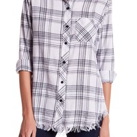 BeachLunchLounge | Elyse Plaid Frayed Hem Blouse | Nordstrom Rack