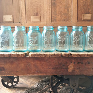 Antique Ball Jars, Original Blue Glass Ball Mason Jars, Pint Mason Jars, Ball Canning Jars