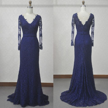 Long Sleeve Lace Floor Length Prom Dresses