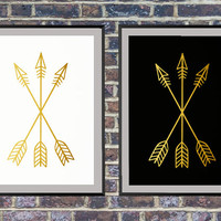 2 prints for the price of one Gold Arrow Art, Arrow Print, Wall Prints, Gold Arrows Art, Arrow Prints, Black and White Wall Print *145*