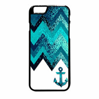 Chevron Navy Anchor Sparkly iPhone 6 Plus Case