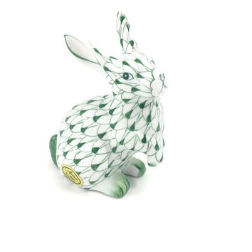 Andrea by Sadek Porcelain Rabbit, Green Net Pattern, Collectible Animal Figurine, Bunny Rabbit, Hand Painted, Shelf decor, Easter decor