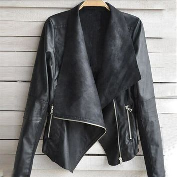 1PC Fashion Vintage irregular large lapel long-sleeved pu leather jacket Women Biker Motorcycle Leather Oblique Zipper Jacket