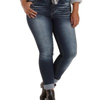 Plus Size Dark Wash Denim Whiskered Skinny Jeans by Charlotte Russe