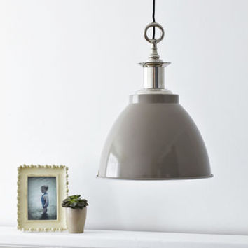 Large Domed Enamel Pendant Light Mushroom Grey