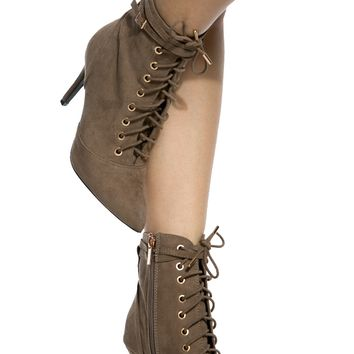 Taupe Faux Suede Lace Up Booties @ Cicihot. Booties spell style, so if you want to show what you're made of, pick up a pair. Have fun experimenting with all we have to offer!