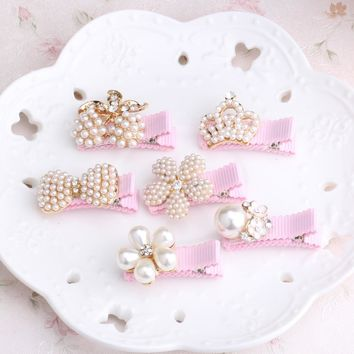 New Arrival Floral Rhinestone Kids Hair Accessories Bowknot  Hair Clip Children Crown Accessories Baby Flower Cute Hairpins