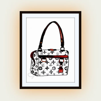Louis Vuitton handbag, LV Printable Wall Art, Bags Purses decor, Travel decals , free spirit fashion, illustration, gift for her
