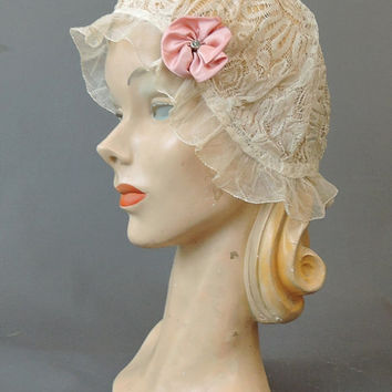 Antique Ivory Lace Bed Sleeping Cap, Peach Satin Rosette, 21 to 23 inch head, 1920s 1930s