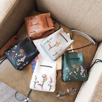 Girls Women Retro Female Simple Floral Bag Crossbody Shoulder Bag Handbag