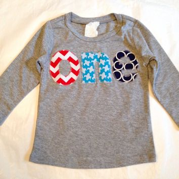 Airplanes Birthday Shirt one 1st boys red chevron aqua teal planes navy circles on heather grey cotton long sleeve birthday shirt first