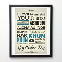 I Love You Typography Poster In Different Language - Vintage-Style Typo Print