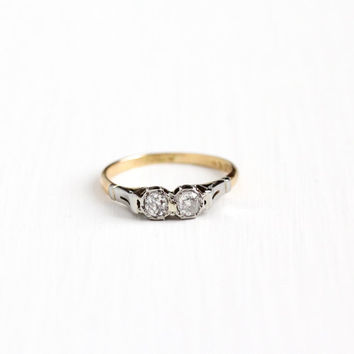 Antique 18k Yellow & White Gold Old Mine Cut .26 CTW Diamond Ring - Vintage Size 6 Two Tone Toi et Moi Engagement Promise Fine Jewelry