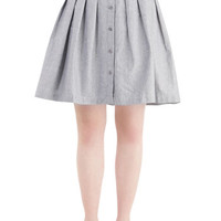 ModCloth Menswear Inspired Mid-length Full Living the Dream Skirt in Grey