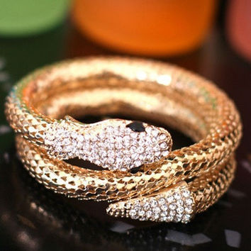 Retro Punk Rhinestone Chunky Curved Stretch Snake Cuff Bangle Bracelet SYH = 1946266052