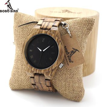 BOBO BIRD Zebra Wood with Luminous Hands Watch