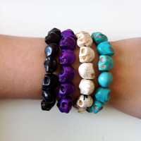 Goth Howlite Skull Bracelets 3 pack by francisfrank on Etsy