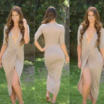 Sexy Nude 3/4 Sleeve Low V Draped Wrap Style Asymmetric Hem Dress Size Medium