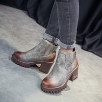 Retro Style Brush Color Elastic High Heeled Boots
