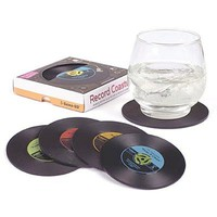 Vintage Record Coasters Set of 4 Retro Vinyl Design Good Grip Unique Office Decoration (Size: 10cm by 10cm, Color: Multicolor)