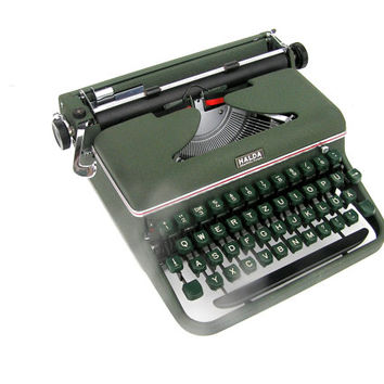Working typewriter excellent working condition Germany 1956 office decor portable retro writer industrial dark green
