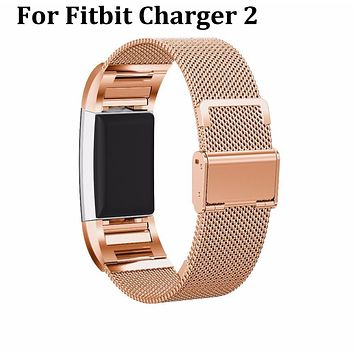 Top Quality Milanese Stainless Steel Watch Band Strap Bracelet For Fitbit Charge 2 with tools Smart replacement Accessories