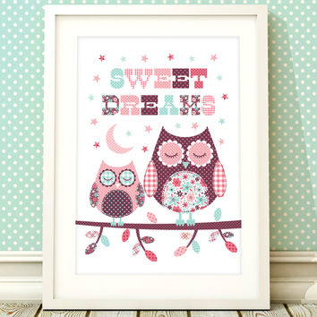 Nursery art girl, baby girls owl print, nursery print, owl nursery art, girls bedroom, baby girl, kids room, nursery decor, sweet dreams