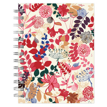 journal notebook lined spiral purple pink floral pattern 6x9 recycled paper