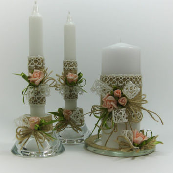 Wedding Unity Candles Rustic Style, Rustic Wedding, Pillar Candle, Taper Candles, Handmade Candles, Personalized Candles, Unity Candle Set