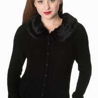 Banned Lets Party Faux Fur Knit Cardigan