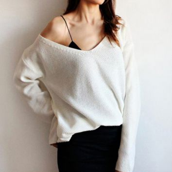 Women Simple Casual Knit Solid Color Deep V-Neck Long Sleeve Sweater Knitwear Tops