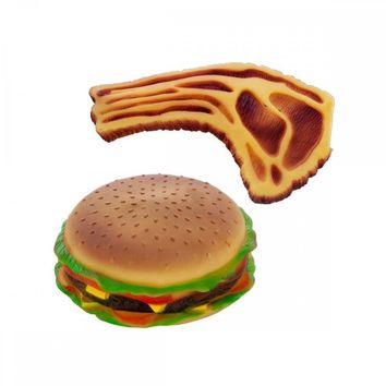 Squeaky Hamburger And Steak Dog Toy OD938