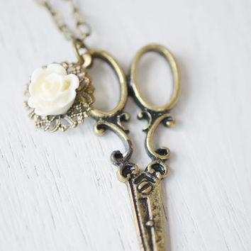 scissor necklace,steampunk scissor pendant,rock gift,hair stylist gift,seamstress necklace,designer gift idea,bridesmaid necklace,mother