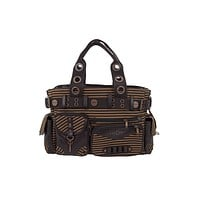 Banned Apparel Vintage Steampunk Brown Striped Belted Key Charm Handbag