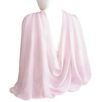 "Pale Lilac Wide Long Shiny Scarf for Women Evening Wrap With Gift Box Formal Wedding Shawl Lightweight Cocktail Chiffon Stoles 77"" x 27"""