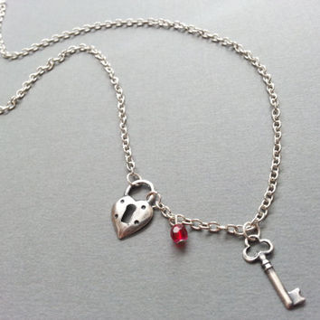 Heart Lock and Key Necklace; Key Necklace; Charm Necklace
