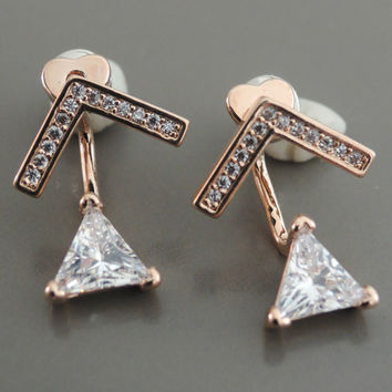 Ear Jackets - Rose Gold Earrings - Crystal Ear Jackets - Triangle Earrings - Stud Earrings - Bridal Earrings - Trending Earrings