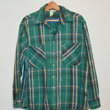 Vintage Plaid Flannel Shirt Vintage Green Black Beige Lumberjack Grunge Buffalo Rockabilly Slouchy Button up Grunge Plaid Shirt Size Large