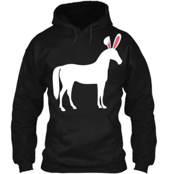 Horse Easter Bunny T-Shirt For Equestrian Kids & Adults Pullover Hoodie 8 oz